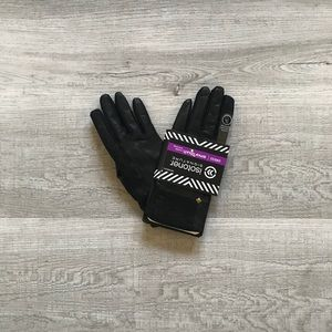 Black, faux leather gloves